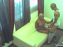 Security camera footage of his cock fucking black chick