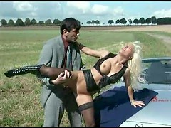 Parked in a field he fucks a hot blonde
