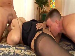 Fat slut in stockings has hardcore threesome