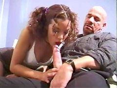 Old guy dick for curly teen to suck