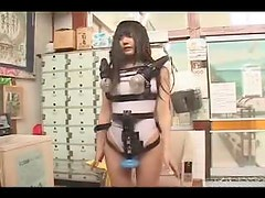 Remote control vibrator in her Japanese pussy