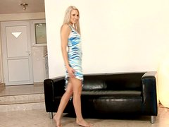 Nasty blonde Debra smashes her vag with a dildo and enjoys it