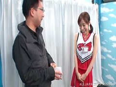 Japanese cheerleader with pigtails gives great blowjob