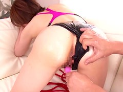 Horny Japanese babe in swimsuit gets creampied and fucked