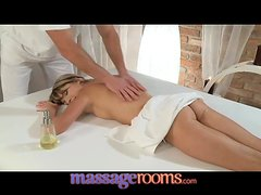 Adorable teen girl with petite body get a massage and rough fuck