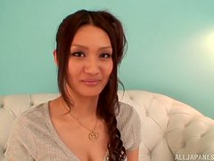 Divine Japanese babe Rina Fujimoto gets balled hard by three