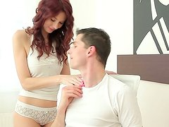 Charming redhead shows off her sexy body to her boyfriend