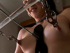 Sexual babe is punished hard and cruel for her bad behavior. She gets clothespins on