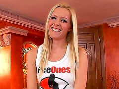 Hot blonde babe Sophie Moone is doing some advertisement in her own professional way and showing