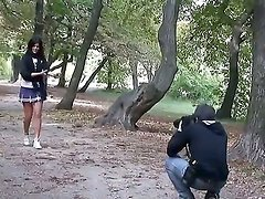 Beautiful schoolgirl Madison Parke, walking in the park meets two handsome guys and decide to