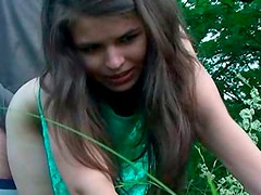 Horny brunette teen likes to be poked outdoors in doggy pose
