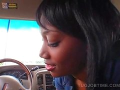 Sexy ebony amateur babe giving tugjob in the car