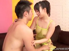 Japanese slut gives a blowjob and a titjob to some horny man