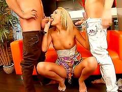 Sensational blonde babe gets more than she bargained for as two guys fist for her juicy cunt