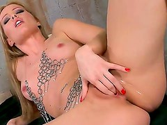 Sexy and gentle blonde Sophie Moone shows her shaved pussy and masturbates