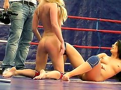 Backstage at the nude fight club with two hot babes with great bodies Dorina Gold and Melissa Ria