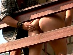 Huge plump woman Cynthia give a guy a great blowjob in the backyard
