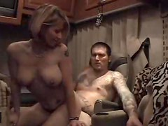 Tattooed couple anal sex in RV