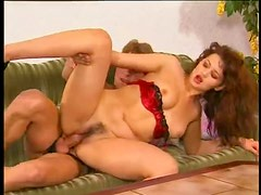 Hairy cunt German girl in lipstick nailed