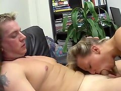 Blonde cocksucker nailed on the couch