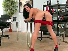 Hot brunette Honey Demon is a sexy secretary who wants to surprise her horny boss. She