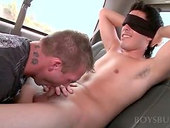 Handsome guy getting talked into sex in the boysbus