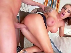 Sensational gorgeous blonde babe moans in soft tones as her gaping cunt is drilles