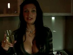 Amazing brunette bombshell Aletta Ocean with big boobs and sexy plump lips after hot party