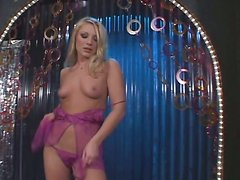 Horny blonde Aurora Snow playing with pink dildo