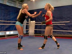 Arousing long haired young sporty blondes Michelle Moist and Laura