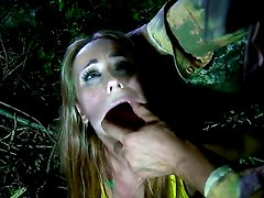 Young cutie Leyla Black got caught by some fuck hungry soldier in the woods and he