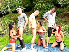 Isabella Chrystin, Linet Slag and Terry Sullivan are taken to the forest and fucked