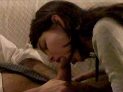 Rapacious wifey enjoys pleasing her beloved hubby with blowjob