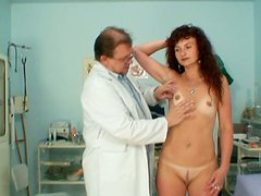 Curly brunette Radoslava forgets about pussy examination and wanna be pleased