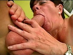 Mature whore Simone is sucking hard cock deepthroat and then riding a hard cock frantically
