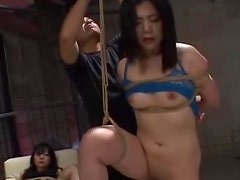 Tied up Japanese whore gets her holes stunningly toyed