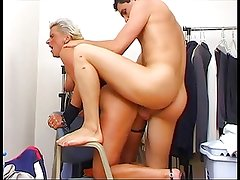 Hot German MILF get fucked hard on the chair