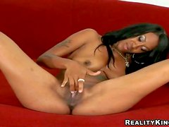 Attractive tattooed black bitch Asia with smoking hot ass and