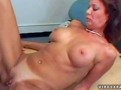 Tanned cheating redhead milf with fake tits and pierced belly