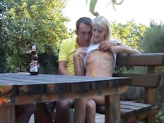 Skinny nympho Katerina Sz gets horny and sucks a fat dick in the garden