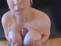 Curvy girl with giant natural tits gets him off