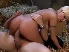 Girl in satin suited fucked in the barn