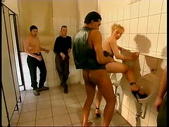 Fucked in bathroom as guys watch