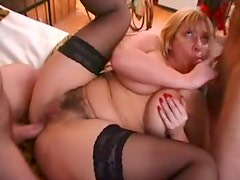 French mom in fishnets and her anal partner