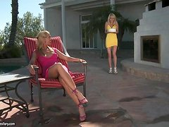 Two stunning blondes lick their feet and pussies