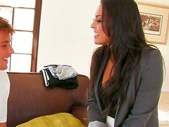 Delectable Cali i shaving awesome missionary style sex on a couch