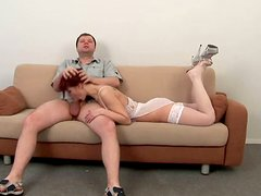 Cute redhead slut Cindy gets throat fucked in sexy white stockings