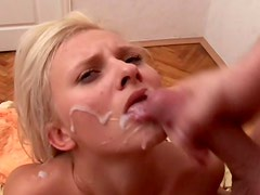 Rapacious blond blowlerina groans while being banged missionary rough