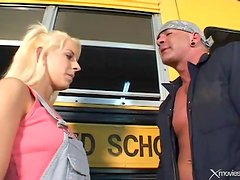 Bus driver loves to fuck that teenage pussy