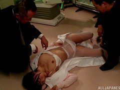 Tsubomi gets fingered by three guys and gets a mouthfil
